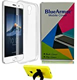 BlueArmor Soft Silicone Back Cover Case For Vivo Y21 - Transparent & Mobile Stand