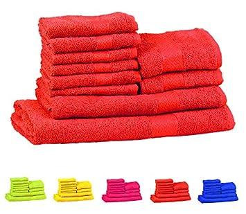 Trident 400 g/m², Juego de 10 toallas de algodón (baño, mano y cara), Neón Naranja: Amazon.es: Hogar