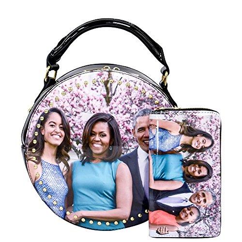 r collage round crossbody bag purses Michelle Obama satchel 2pcs set (Picture E) ()