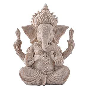 Fenteer Sandstone Statue Carved Culture Artwork Sculpture Figurine Craft Elephant