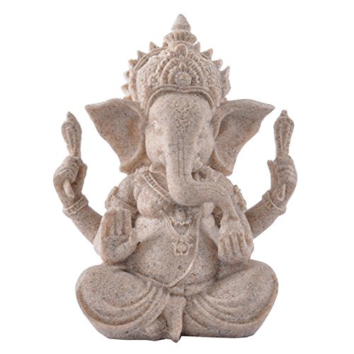 SM SunniMix Indian Lord Ganesha Statue Sculpture Sandstone Elephant God Small Buddha Figurine