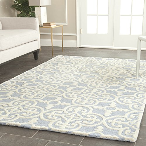 light blue and white rug - 9