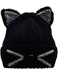 Bellady Mother Children Sequin Cat Ears Hats Warm Knit Crochet Beanies Cute Fashion Skull Cap,Adult_Black
