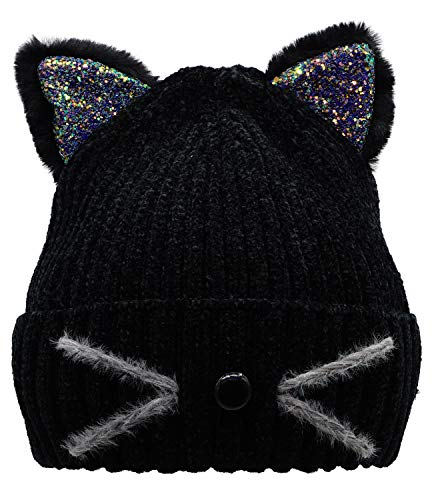 Bellady Mother Children Sequin Cat Ears Hats Warm Knit Crochet Beanies Cute Fashion Skull Cap,Adult_Black