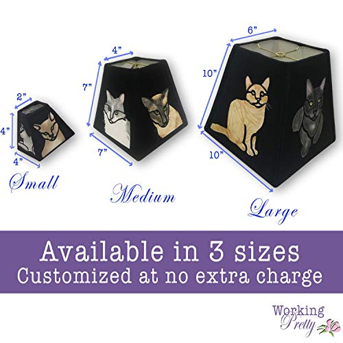 Feline Friends hand-painted fabric lampshade that looks like stained glass
