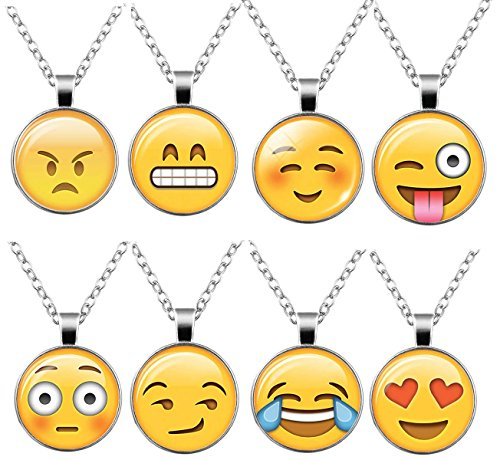 22a670219 1 · HOPIE 8pcs Emoji Pendant with Chain Cute Necklace for women