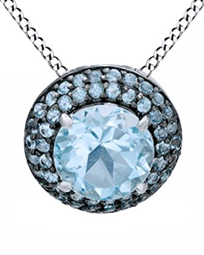 Jewel Zone US Round Shape Simulated Blue Topaz Frame Pendant Necklace in 14k White Gold Over Sterling Silver with Black Over -