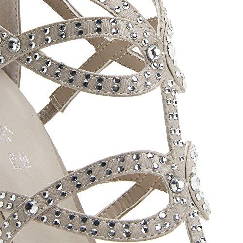 ALESYA by Scarpe&Scarpe - Sandalias altas con estrás y tiras, con Tacones 10 cm Beige