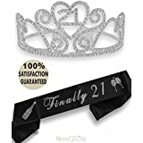 Meant2ToBe 21st Birthday Party Decoration Kit, 21st Birthday Tiara and Sash, Happy 21st Birthday Party Supplies, Finally 21 Glitter Satin Sash and Crystal Tiara Birthday Crown (Silver)