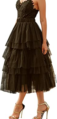 62a3c18c2 Chicwish Women's Nude Pink/Black Tiered Layered Mesh Ballet Prom Party  Tulle Tutu A-