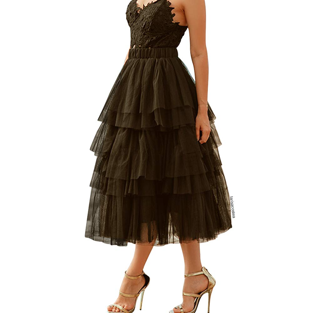 a8c0f5edc5 Clothing Chicwish Womens Nude Pink/Black Tiered Layered Mesh Ballet Prom  Party Tulle Tutu A-line Midi Skirt Women