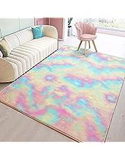 Toneed Soft Rainbow Rug for Girls Room Fuzzy Cute Colorful Area Rugs for Kid Bedroom Nursery Home Decor Floor Carpet
