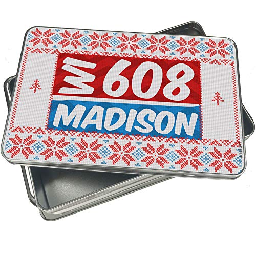 NEONBLOND Cookie Tin Box 608 Madison, WI red/blue Vintage Christmas Pattern -