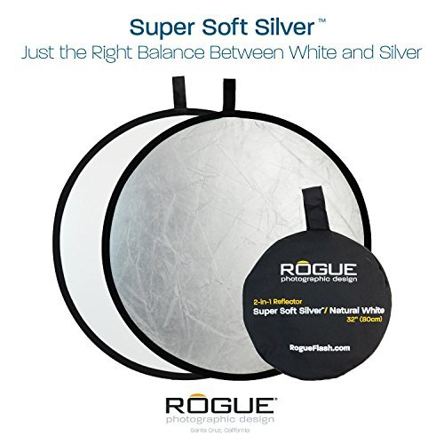 Rogue Photographic Design 2-in-1 Collapsible Reflector 32, Super Soft Silver/Natural White (ROGUE32SW)