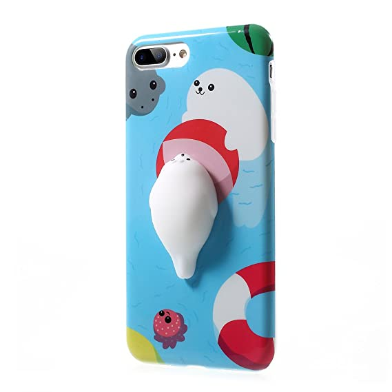 meet 198f6 1a60e Squishy Seal iPhone 7 Plus Case, 3D Cute Soft Silicone Poke Squishy Phone  Back Cover for iPhone 7 Plus