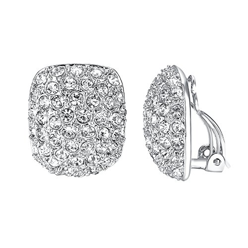 Big Clip Earrings - Yoursfs Clip Earrings For Women With Round Austrian Crystals Non Pierced Ears Clip-On Earrings (Big Clip Earrings)