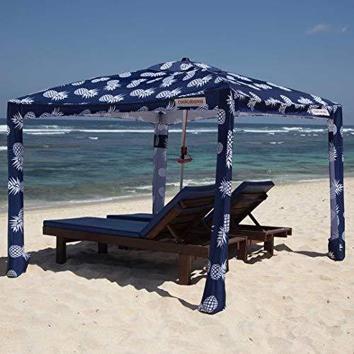 Cheap Cool Cabanas 3 L UPF50,Providing 50+UV Protection,8Pockets Easy go coolcabana Beach Canopy Sun shelter Tent Camping Umbrella with Sand Anchor Easy Setup pop up Tents Beach Sun Shade-Pineapples-Large beach cabana