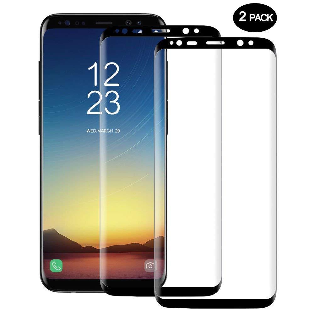 Samsung Galaxy S8 Pellicola Protettiva, Vkaiy 2 pezzi Pellicola Vetro Temperato Galaxy s8, 3D copertura completa, HD Display Protezione Schermo, 9h Durezza, Anti Graffi Screen Protector per Galaxy S8