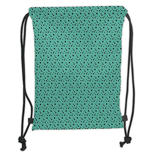 New Fashion Gym Drawstring Backpacks Bags,Animal Print,Dalmatian Dog Fur Inspired Little Polka Dots Circles Rounds Image,Jade Green and Black Soft Satin,Adjustable String Closure,