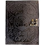 CARVEx Black Leather Journal Tree of Life Handmade Writing Notebook 10x8 Inches Unlined Paper, Antique Leatherbound Daily Diary Notepad Sketchpad for Men & Women Gift