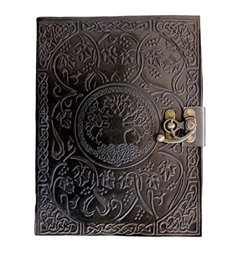 Nonrefillable Pen Black (CARVEx Black Leather Journal Tree of Life Handmade Writing Notebook 10x8 Inches Unlined Paper, Antique Leatherbound Daily Diary Notepad Sketchpad for Men & Women Gift)
