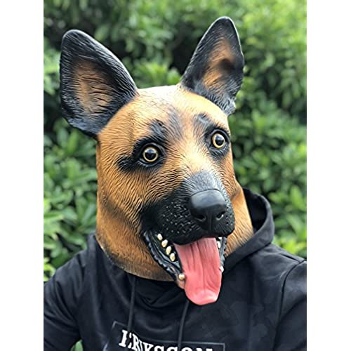 amazlab under dogs super bowl party supply latex german shepherd dog head mask decoration halloween party novelty props supplier