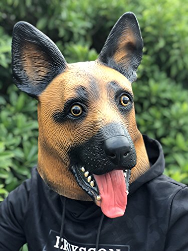 Under Dogs Super Bowl Party Supply Latex German Shepherd Dog Head Mask Decoration Halloween Party Novelty Props Supplier ()