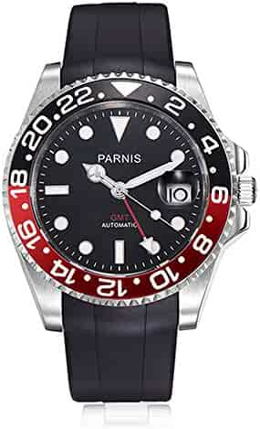 6502c74bebb Parnis 40mm Black Dial Red GMT Pointer Automatic Movement Men s Watch  Rubber Strap Luminous Marks