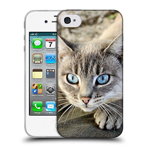 Just Phone Cases Coque de Protection TPU Silicone Case pour // V00004305 aux yeux bleus chat attrape des jeans // Apple iPhone 4 4S 4G