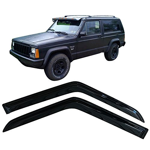 Window Visor Fits 1984-2001 Jeep Cherokee | Acrylic Black Sun Rain Guards Cover By IKON MOTORSPORTS | 1985 1986 1987 1988 1989 1990 1991 1992 1993 1994 1995 1996 1997 1998 1999 2000 2001