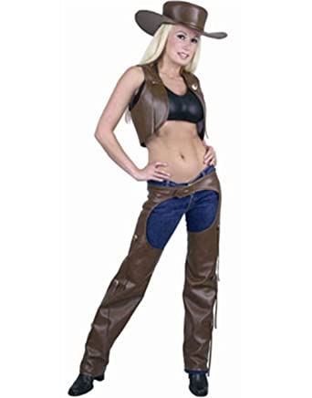 Brown Western Chaps u0026 Vest Cowgirl Costume Adult Women Cowboy Faux Leather  sc 1 st  Amazon.com : cowboy vest costume  - Germanpascual.Com