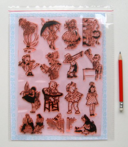 """Vintage Kids Baby Children (7""""x10"""") Large Sheet Clear Stamps"""