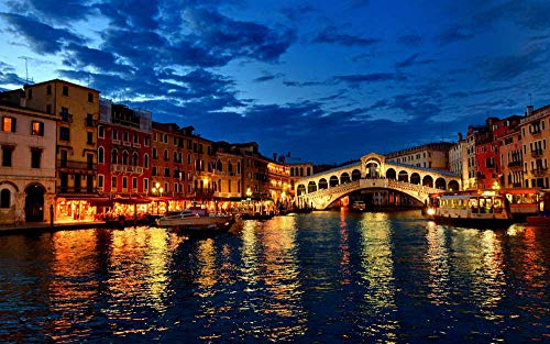 CU.RONG Venice Canal Gondola Boat Night Lights Houses Clouds Italy,Art Print on Canvas,Wall Decor Poster 20x30 inches