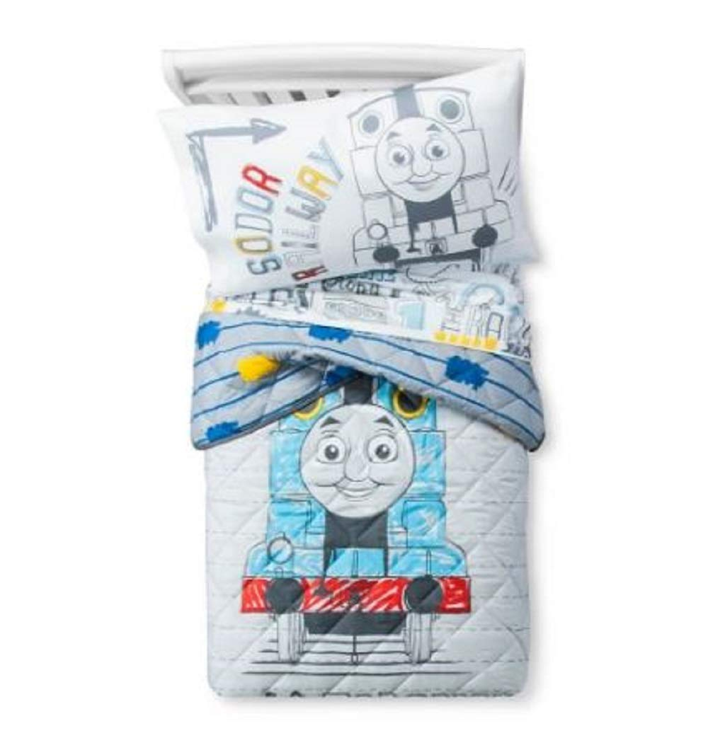 Nickelodeon Thomas & Friends Thomas Doddle Days 4 Piece Toddler Bed Set - Includes Reversible Comforter & Sheet Set - Super Soft Fade Resistant Microfiber - (Official Nickelodeon Product)