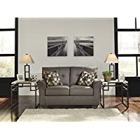 Tibbee Contemporary Slate Color Fabric Loveseat