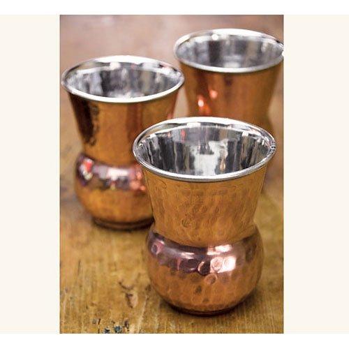 NapaStyle Set of Four Hand Pounded Bottega Copper Tumblers