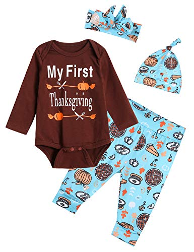 Baby Boys Girls 4PCS Outfits Set My First Thanksgiving Long Sleeve Romper Pants Clothes