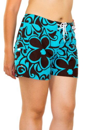 Kechika Women's Moon Dance (STC) Poly Microfiber Full Cut Boardshort With Normal Waist 22 Turquoise