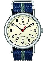 Unisex T2N654 Weekender Blue/Gray Stripe Nylon Slip-Thru Strap Watch