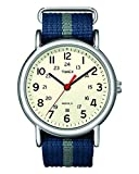 Timex Weekender 38mm Unisex Reloj, Weekender Reloj de pulsera deslizable con correa de nailon, Azul/Franjas grises