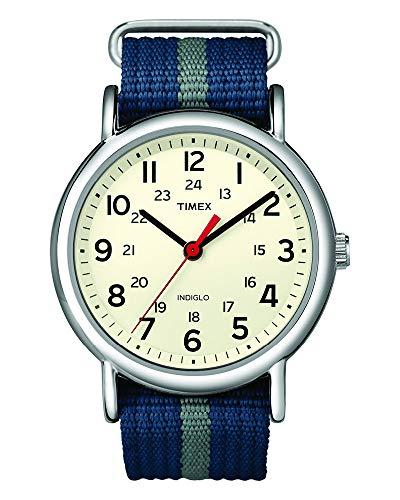 Timex Unisex T2N654 Weekender Blue/Gray Stripe Nylon Slip-Thru Strap ()