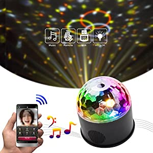 KOOT Disco Ball Party Lights 9 Colors DJ Light Sound Activated Strobe Light Magic Ball Lights with USB Charging Wireless Phone Connection Remote for Wedding KTV Karaoke Home Party Club