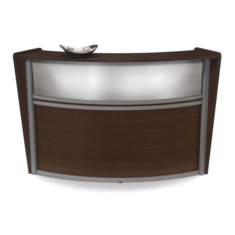 Marque Curved Reception Station with Plexi Panel - 72''W x 32''D Walnut Finish/Silver Accents Dimensions: 72''W x 32''D x 45.5''H Weight: 118 lbs.