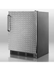 Summit FF7BDPL Refrigerator, Silver With Diamond Plate