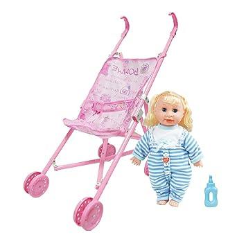 Amazon.es: P Prettyia Lindo Carrito de Bebé + Modelo Muñeca Bebé Neborn en Ropa de Vestir - # 1: Juguetes y juegos