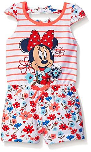 Disney Little Girls Minnie Mouse Floral Romper Orange 12 Months Disney Floral Romper