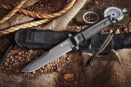 Kizlyar Supreme KK0215 Trident D2 Russian Made Titanium Tactical Knife, Black