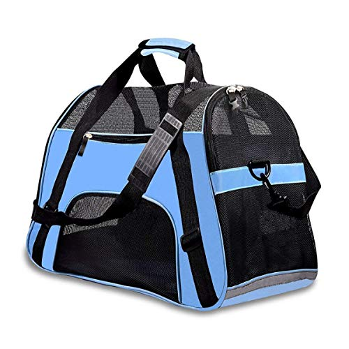 (PPOGOO Large Pet Travel Carriers 20.9x10.2x12.6 22lb(10KG) Soft Sided Portable Bags Dogs Cats Airline Approved Dog Carrier,Blue,Upgraded Version)