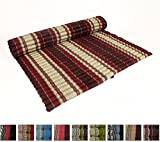 Leewadee Roll Up Thai Mattress XXL, 79x63x2 inches, Kapok Fabric, Brown Red, Premium Double Stitched