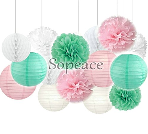 Pack of 16 Mixed Gold Pink White Mint Green Party Tissue Pom Poms Paper Lantern Baby Shower Birthday Wedding Hanging Decor